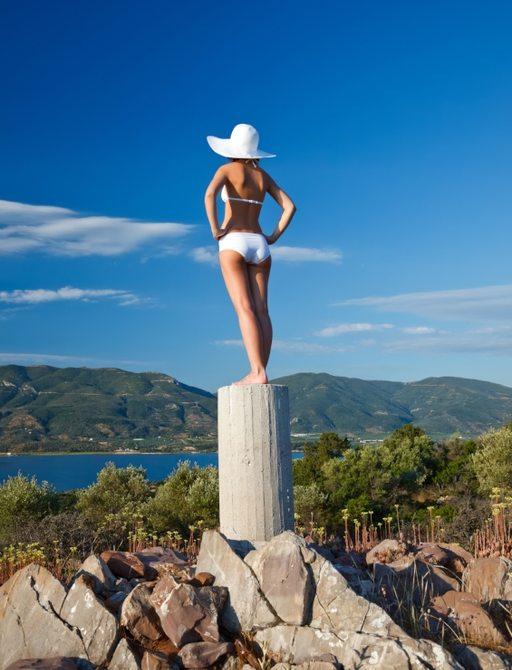 Woman enjoying views on the Greek Peloponnese Islands