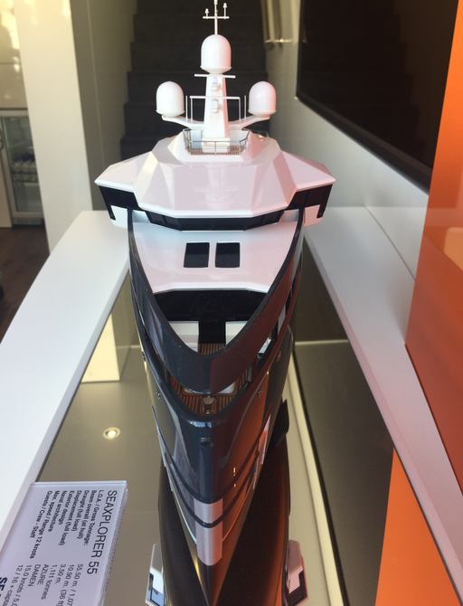 model of SEAXPLORER yacht from Amels at the Monaco Yacht Show 2017