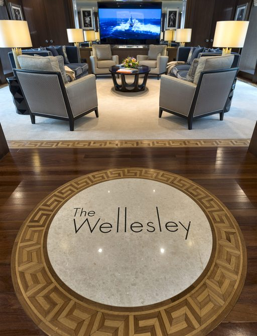 the main salon of charter yacht the wellesley aka the wellington which is the yacht that cruises mallorca in BravoTV below deck med