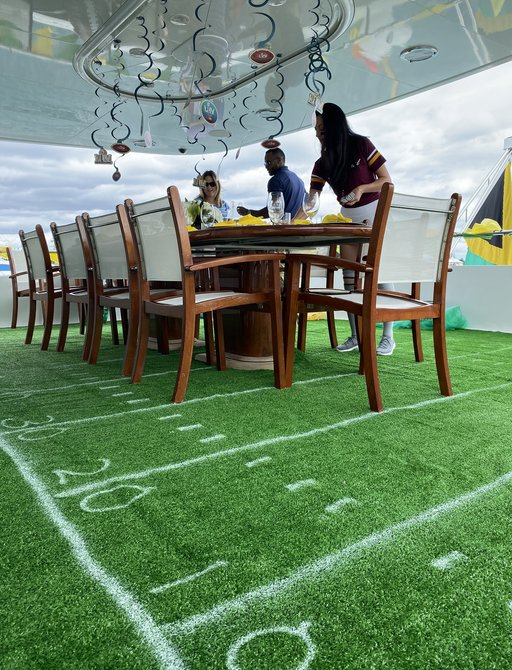 at last yacht soccer and superbowl onboard theme at boat show