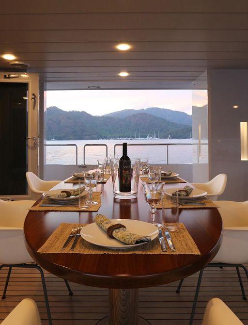 dining table alfresco on superyacht only now