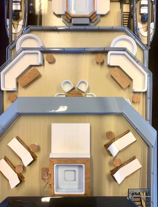 RAGNAR yacht aerial image of aft decks