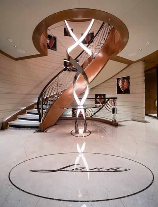 sculptured staircase on megayacht lana, by benetti
