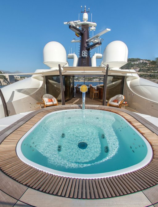 Luxury yacht Here Comes the Sun sundeck spa pool and sun pads