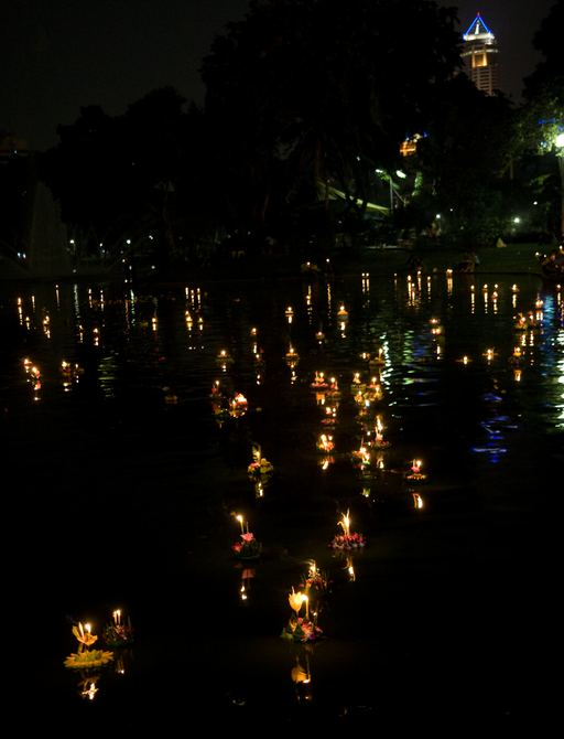Loi Krathong festival of light on the water in Thailand
