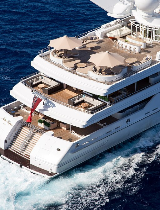 Overhead view of stern and vast deck areas on board luxury yacht 'Indian Empress'