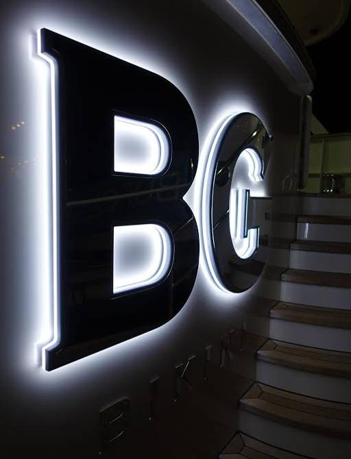 The sign on the aft deck of superyacht BG