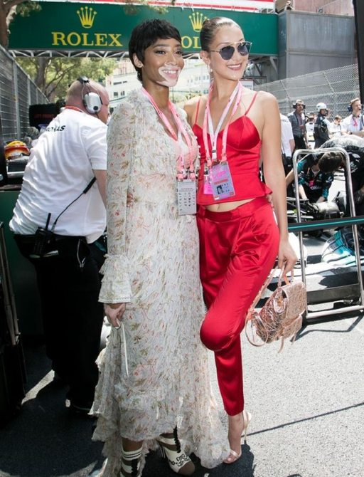 Bella Hadid and Winnie Harlow at F1 Monaco Grand Prix posing under the banners alongside the racing circuit
