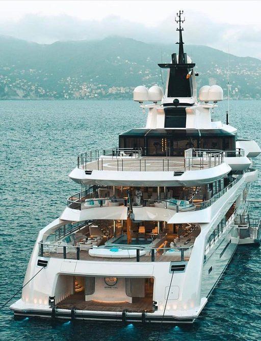 Aft decks of superyacht Lady S