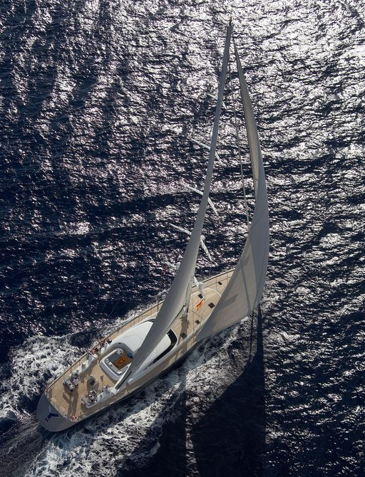 aerial view of charter yacht SHOGUN, which will be appearing at the Monaco Yacht Show 2017