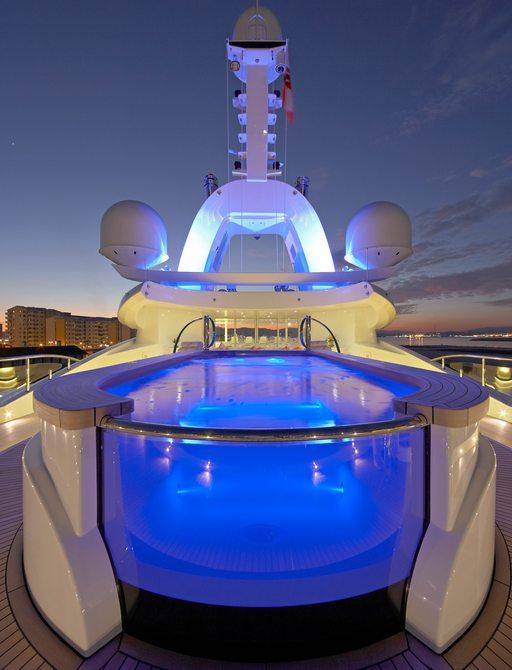 Sundeck pool onboard MY Amaryllis