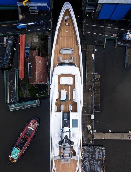 luxury yacht galina aerial view