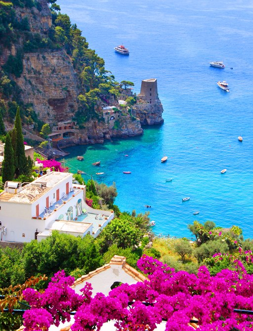 blooming flowers on amalfi coast