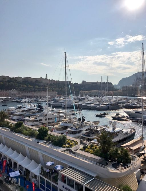 yachts lined up for the Monaco Yacht Show 2017