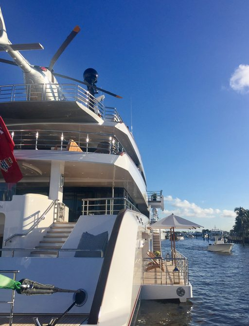 Feadship superyacht VANISH with helicopter atop her helipad at FLIBS 2017