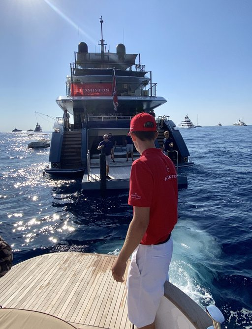 Tender to an anchored yacht at the MYS 2021