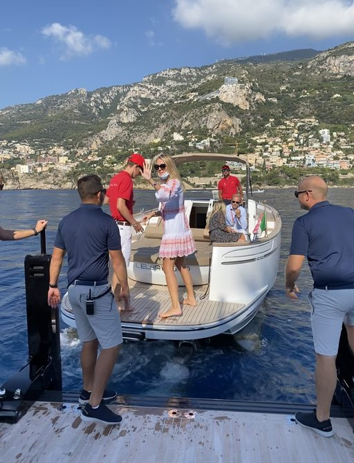 People taking a tender to yachts anchored out at the MYS 2021