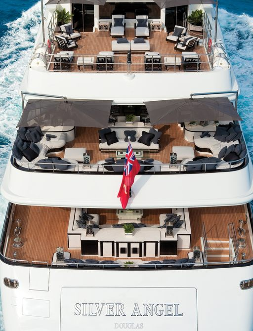 aft view of superyacht Silver Angel while underway