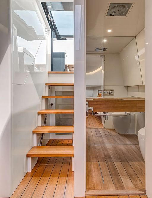 Interior stairwell on the Alen 55 chase tender
