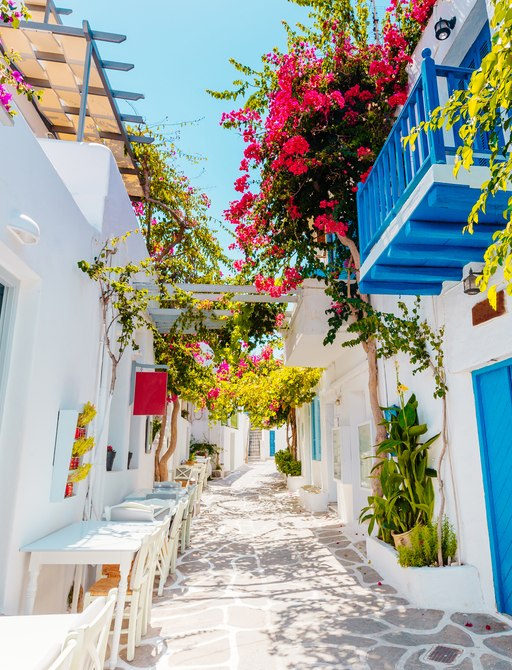 Whitewashed strete in Greece, with pink flowers and blue doors
