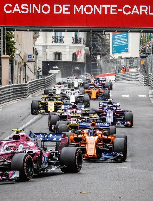 cars on racetrack at monaco grand prix