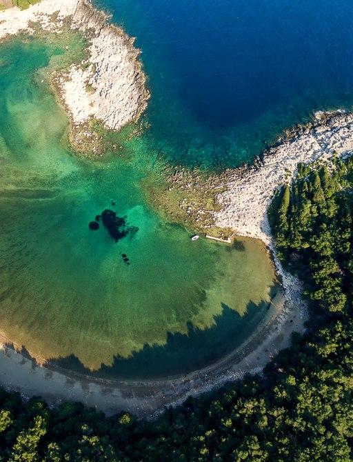 Top view at Saplunara beach on island Mljet.Croatia