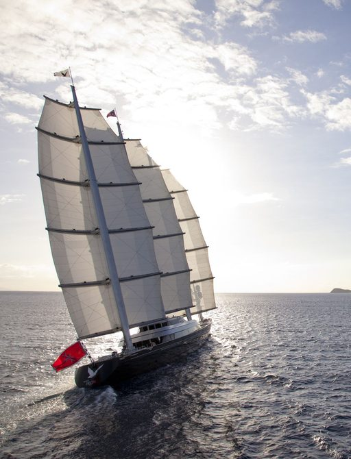 superyacht maltese falcon underway in the Mediterranean while on a luxury yacht charter vacation in peak summer on her way to capri