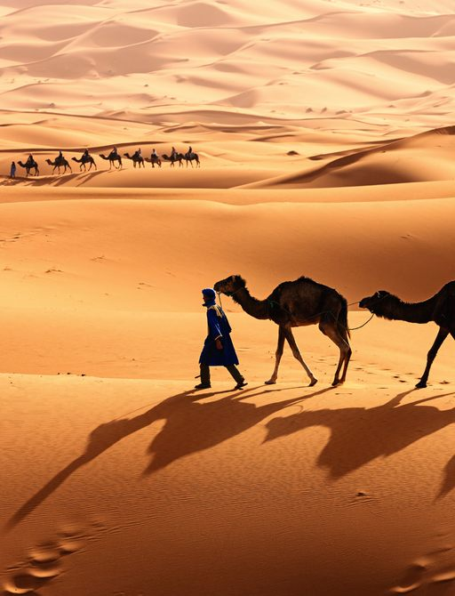 Man walking camels across desert with shadows on sand