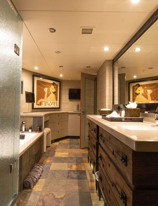 Ensuite on superyacht ZEAL with sink and bath visible