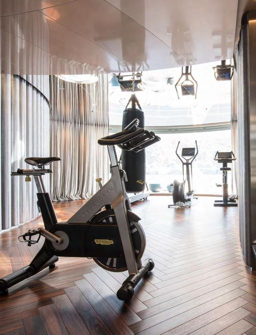 Gym equipment on superyacht SAVANNAH