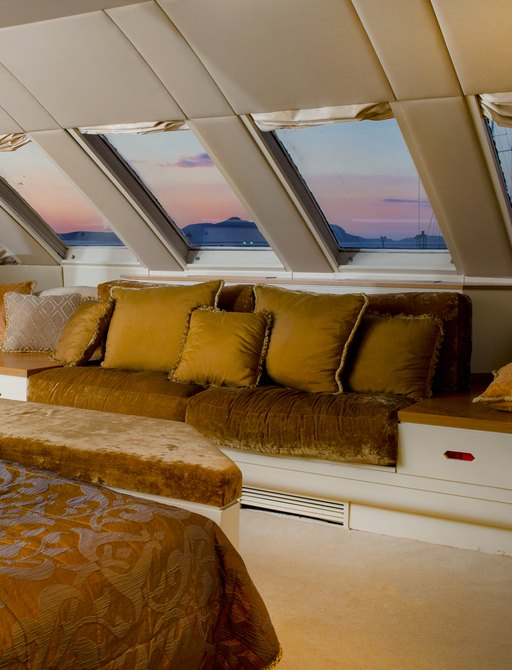 breathtaking view of the mediterranean sea from the view of the master suite in charter yacht carmen fontana