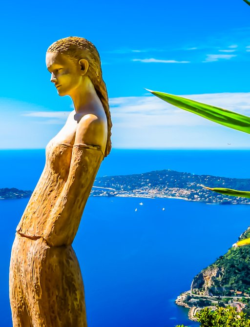 Statue in Eze overlooking the Cote d'Azure, France