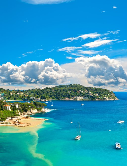 View of luxury resort and bay of Cote d'Azur. Villefranche by Nice, french riviera.
