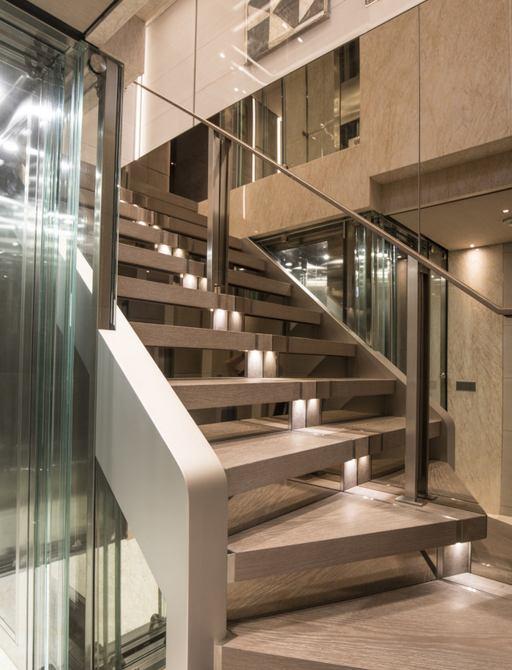 Wooden staircase descending on superyacht SEVERIN'S