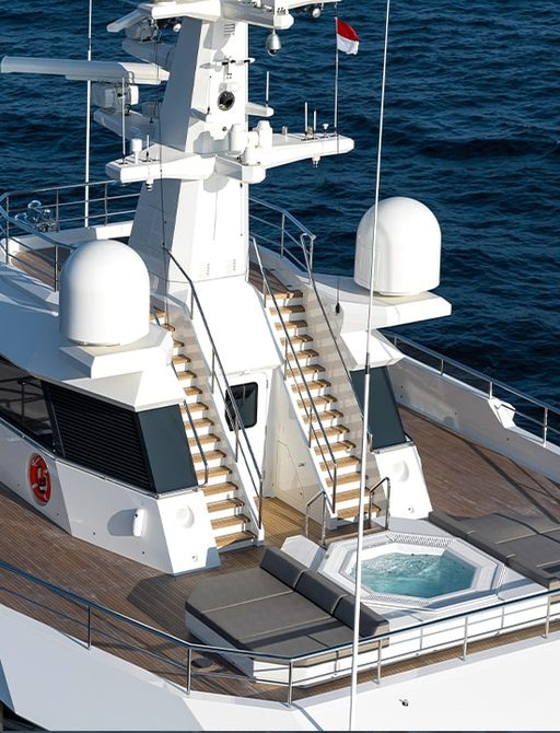 sundeck of superyacht la datcha with steps leading to radar arch