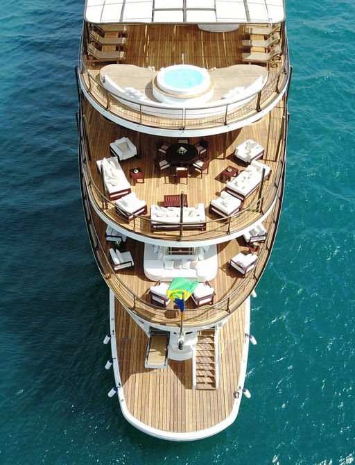 View of decks at bow of Superyacht CHAKRA