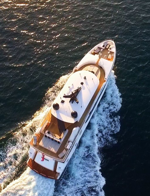 aerial view of superyacht SAHANA as she cruises on a charter vacation in Sydney, Australia