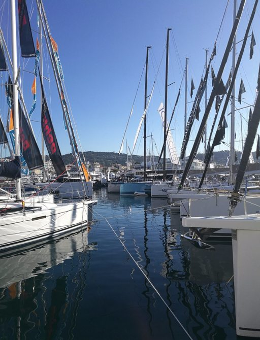 sailing yachts lined up at the Cannes Yachting Festival 2017