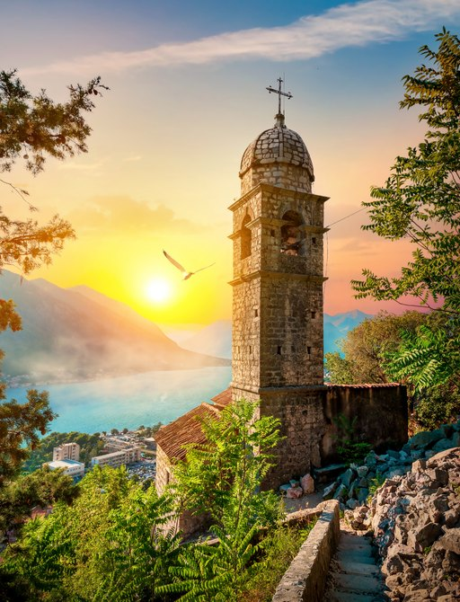 Church of Our Lady of Remedy in Kotor at sunset