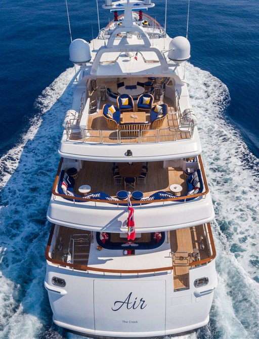 motor yacht AIR underway on a Mediterranean yacht charter
