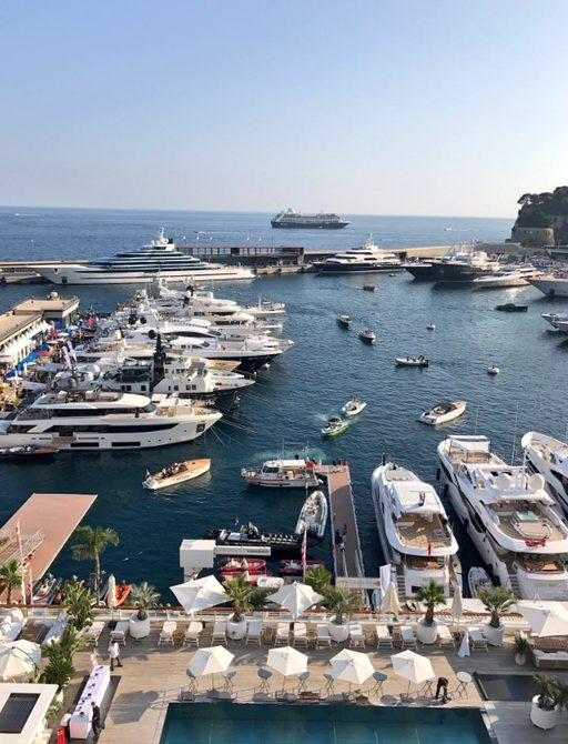 yachts lined up in Port Hercules for the Monaco Yacht Show 2017