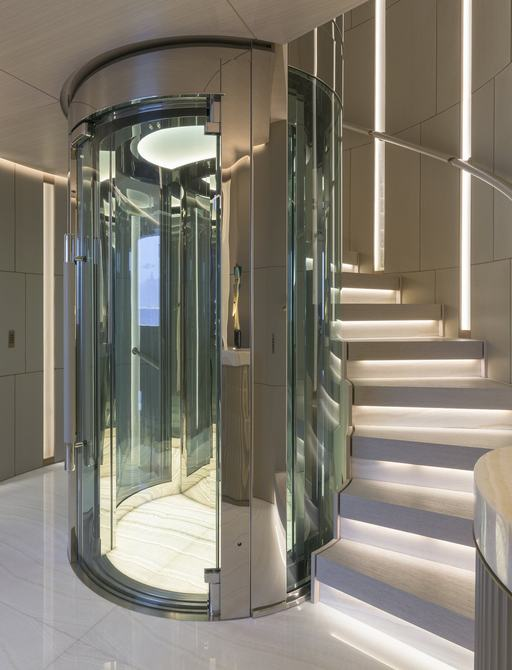 Stairs and elevator on superyacht EIV