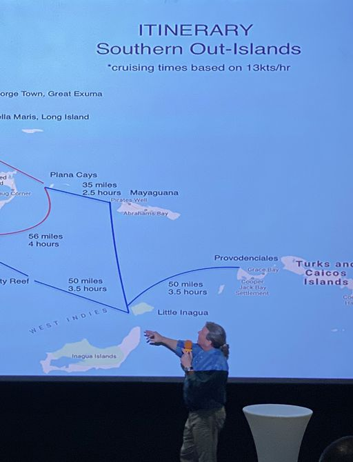 secret itineraries being explained at the bahamas charter show
