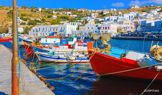 Vibrant Fishing Boats in the Old Port of Mykonos