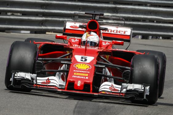 Sebastian Vettel driving his Ferrari at the Monaco Grand Prix