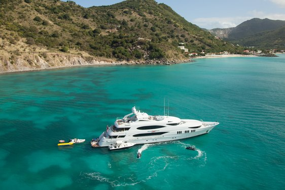 A superyacht and a collection of water toys in St Martin