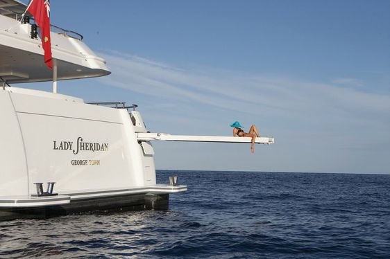 Charter guest relaxes on Lady Sheridan Motor Yacht