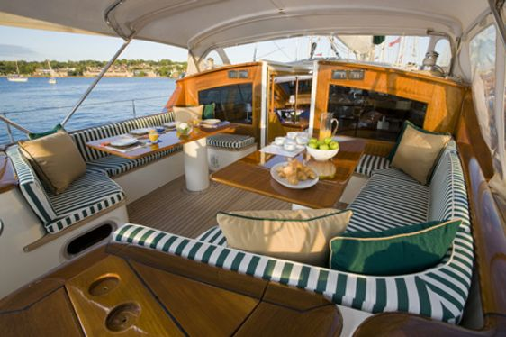 Exterior seating on board charter yacht Whirlwind