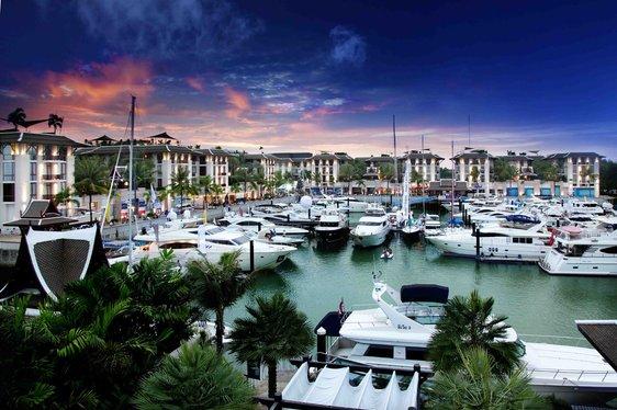Luxury charter yachts lined up in Phuket Marina