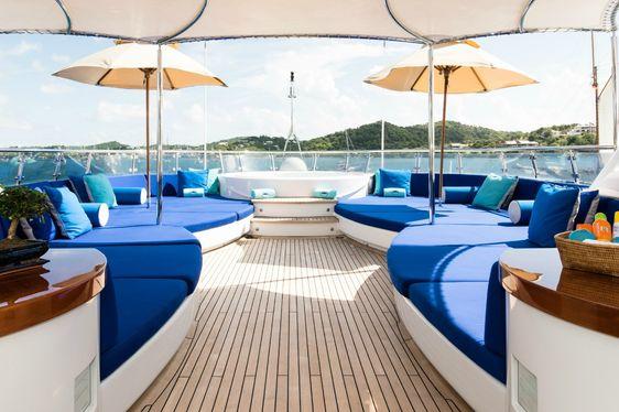 sprawling sunpads on sundeck of superyacht Talisman Maiton